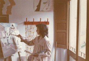 Concha Daud en su primer estudio de pintura.